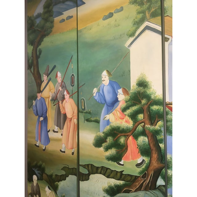 Chinoiserie Mural Painting on Panels For Sale In Charleston - Image 6 of 13