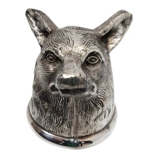 1960s Leonard Silver Plated Fox Head Stirrup Riding Cup For Sale
