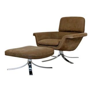 1980s Vintage Minotti Italian Suede Chrome Lounge Armchair Ottoman For Sale