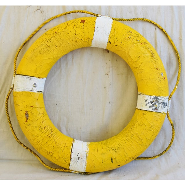 1950s Nautical New England Yellow Life Preserver For Sale In Los Angeles - Image 6 of 7