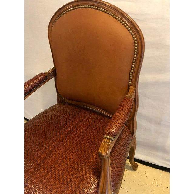 Animal Skin Brown Suede and Tweed Leather Bergère Arm or Office Desk Chair Brunschwig & Fils For Sale - Image 7 of 11