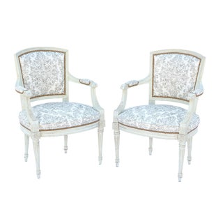 Italian Painted Fauteuils - a Pair For Sale