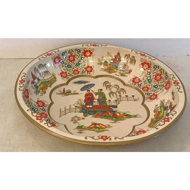 Imari Porcelain Vintage Oriental Theme English Tin Bowl For Sale - Image 4 of 9