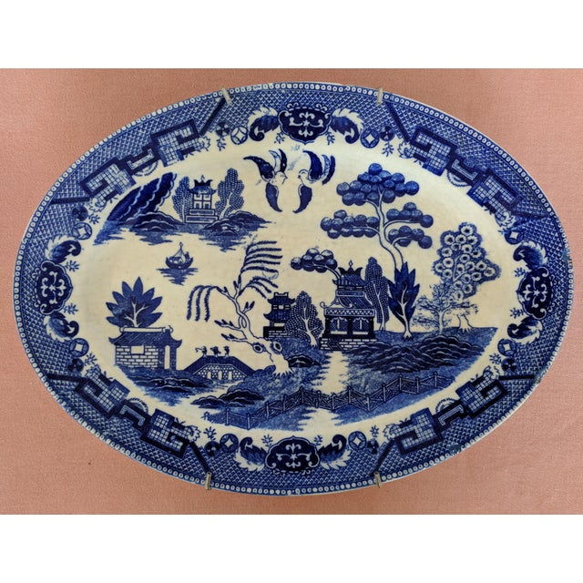 Vintage Blue Willow Pagoda Decorative Platter With Hanger For Sale - Image 10 of 10