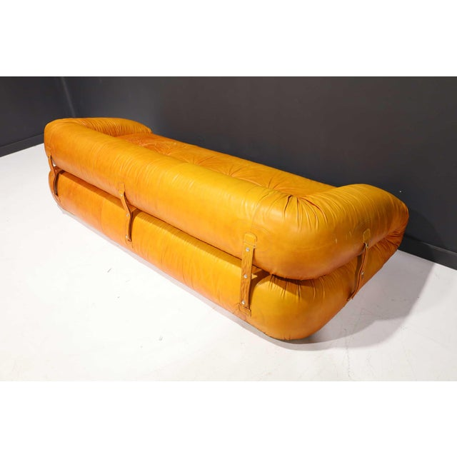 Mid-Century Modern Leather Anfibio Sofa Bed by Alessandro Becchi for Giovannetti Collezioni, 1970s For Sale - Image 3 of 13