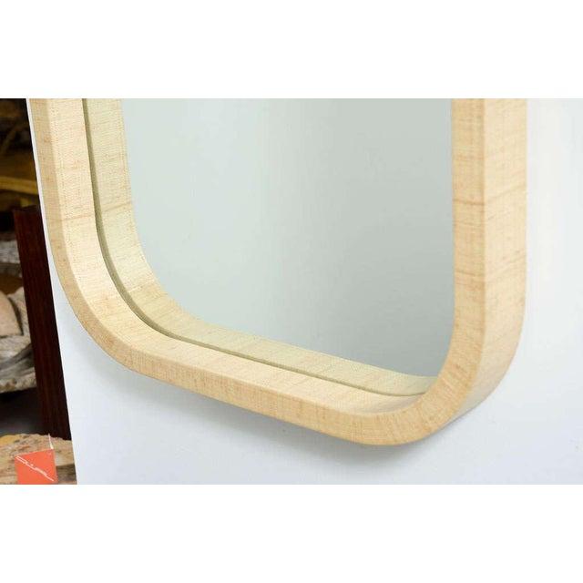 Fine Radius Corner Grass Cloth Wrapped Frame Mirror | DECASO