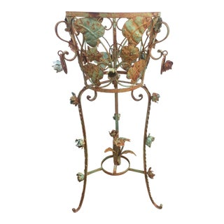 Distressed Iron Plant Stand