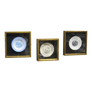 Sarreid Ltd. Antique Framed Ceramic Plates - Set of 3