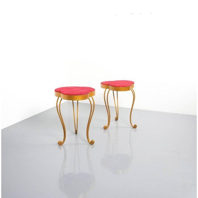 Pair of Pier Luigi Colli Gold Iron Clover Stools Red Fabric, Italy, 1950 For Sale - Image 9 of 9