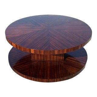 Monumental French Art Deco Sunburst Macassar Rotating Coffee Table . For Sale