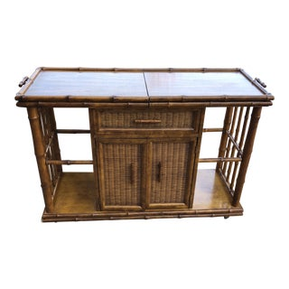 1970s Brown Boho Chic American of Martinsville Bamboo Server Bar Cart on Wheels For Sale
