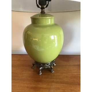 Pair of Chartreuse Green Lamps With Brass Feet Preview