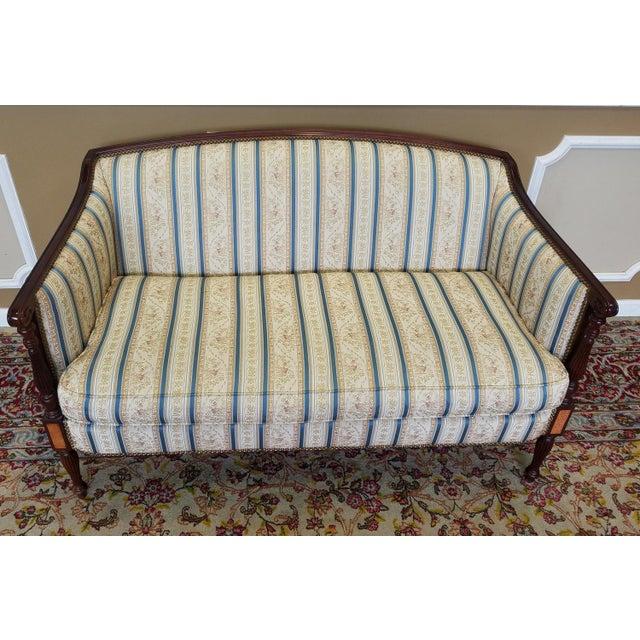 Mahogany Fantastic Hickory Chair Company James River Collection Sheraton Mahogany Loveseat For Sale - Image 7 of 9