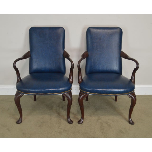 Traditional Queen Anne Style Vintage Custom Quality Mahogany Pair Shepherd's Crook Armchairs (C) For Sale - Image 3 of 12