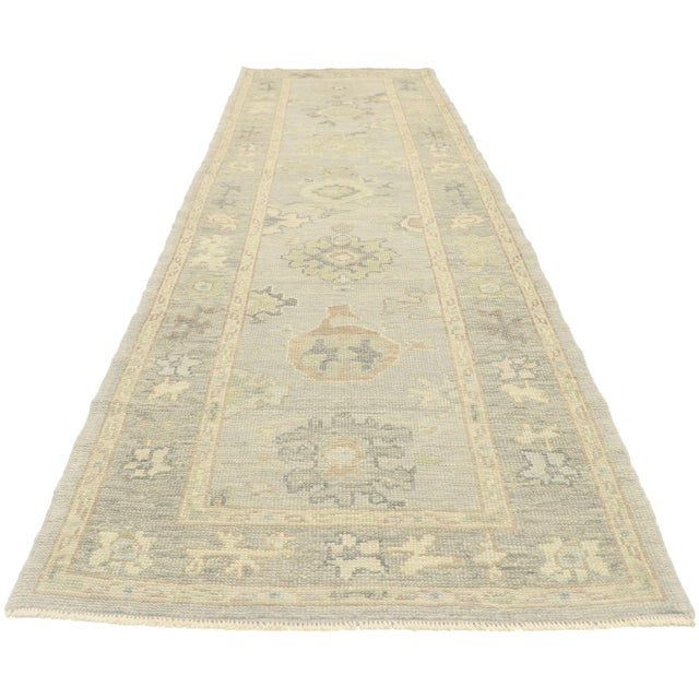Contemporary Contemporary Turkish Oushak Runner With Transitional Style - 03'00 X 09'11 For Sale - Image 3 of 9
