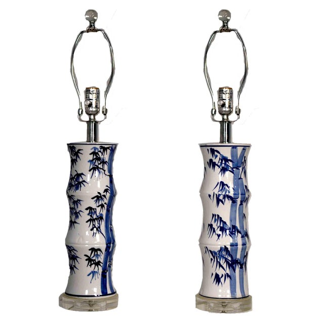 Contemporary Chinoiserie Blue and White Bamboo Motif Table Lamps - a Pair For Sale - Image 9 of 9