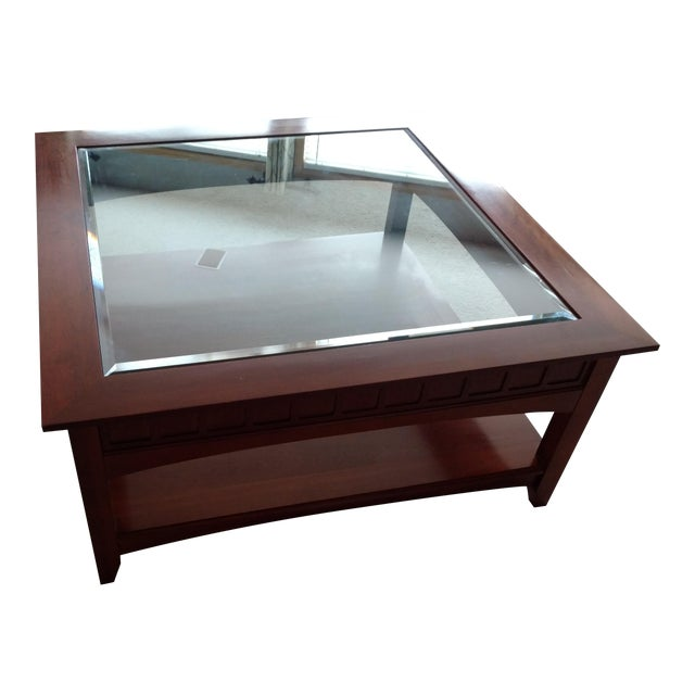 Ethan Allen Beveled Glass Coffee Table - Image 1 of 4