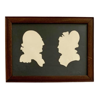 Early 20th Century Antique George & Martha Washington Cameo Silhouette Portraits For Sale