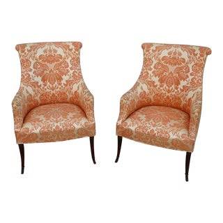 Mid 19th Century Vintage Hollywood Regency Club Chairs- A Pair For Sale