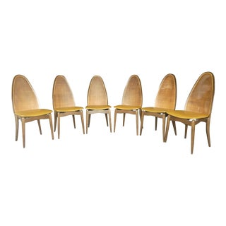 Vintage Mid Century Modern Stakmore Cathedral Back Folding Chairs- Set of 6 For Sale