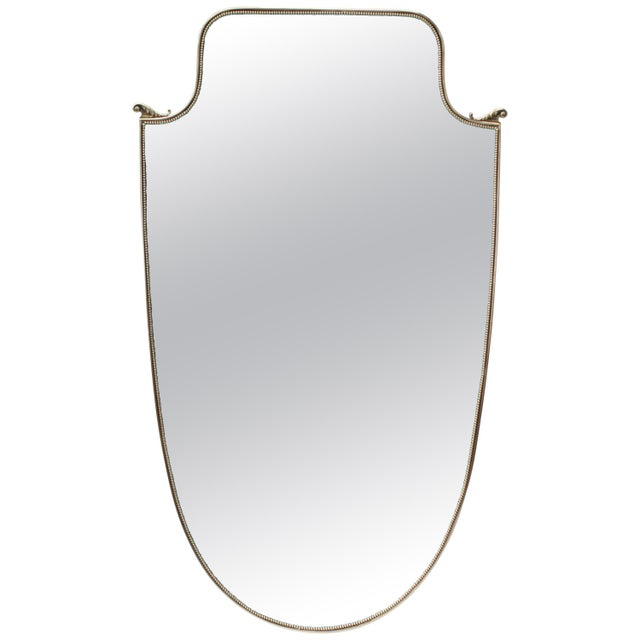 Metal Large Italian Brass Shield Form Mirror For Sale - Image 7 of 7