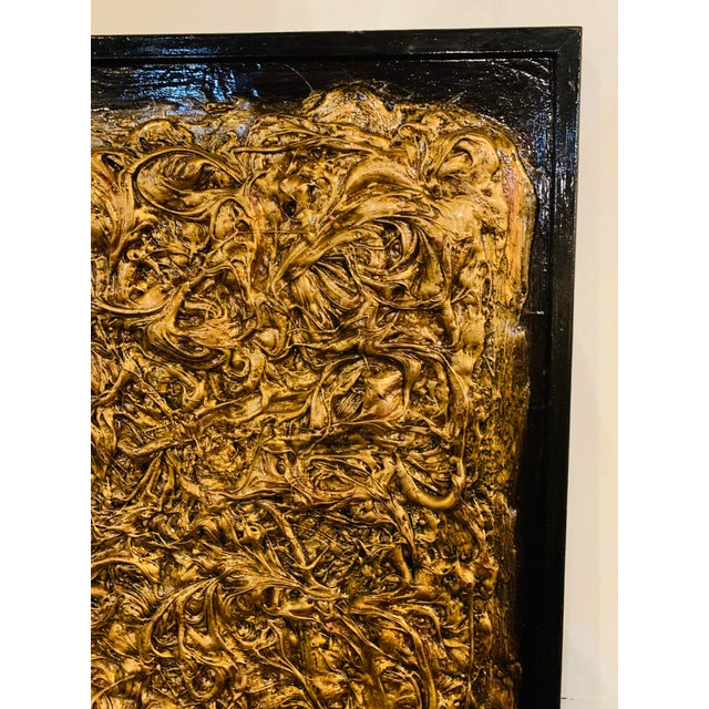 Abstract Harald Marinius Olson Untitled Abstract With Gold Acrylic on Canvas For Sale - Image 3 of 13