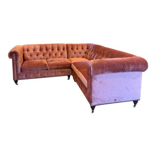 Modern Anthropologie Pink Velvet Lyre Sectional Sofa For Sale