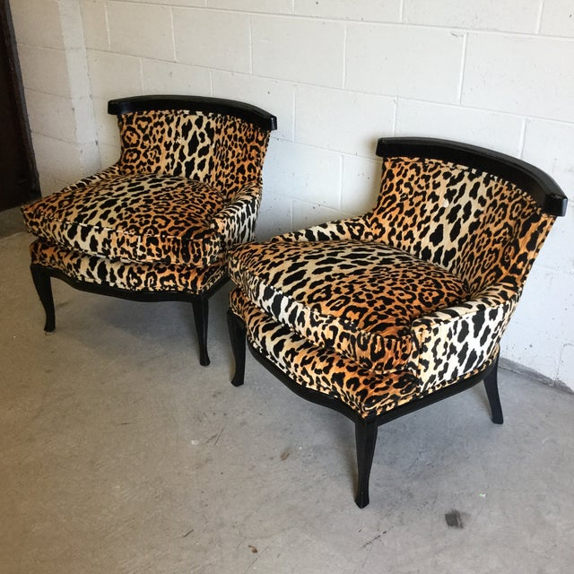 Fantastic pair of vintage slipper chairs that we had reupholstered in Braemore Velvet leopard print fabric. We also...
