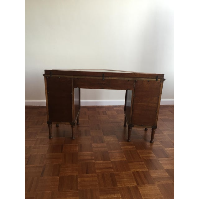 Bow Front Tapestry Top Inlaid Wooden Writing Desk - Image 10 of 10