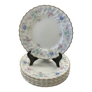 1950s Vintage Royal Doulton Pastoral Porcelain Lunch Plates - Set of 8 For Sale