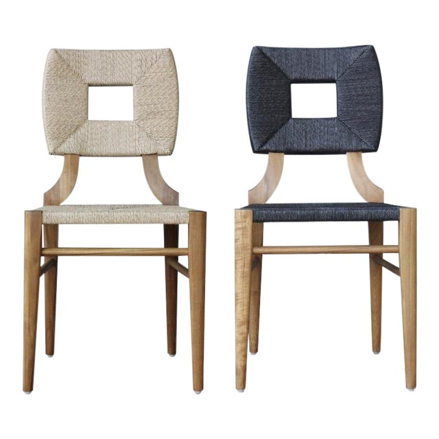 """Outdoor """"How to Marry a Millionaire"""" Dining Chair in Charcoal or Sand For Sale"""