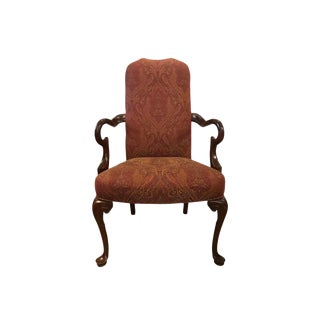 Set of 4 Mahogany Gooseneck Armchairs Dining Chairs For Sale