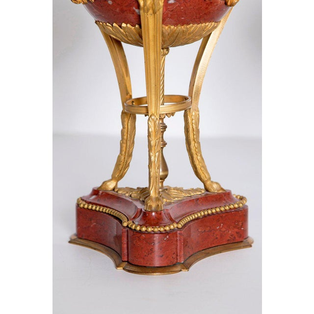 Late 19th Century Pair of Gilt Bronze Mounted Rouge Marble Lidded Coupes For Sale - Image 9 of 13