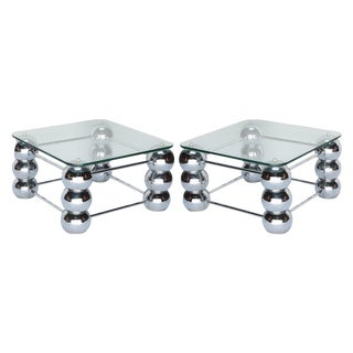 Chrome Side Tables - a Pair For Sale