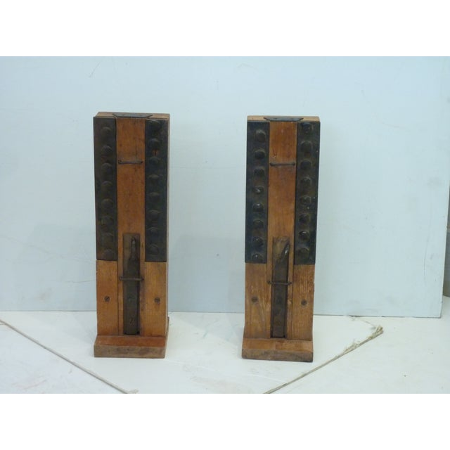 Brown 19th C. Industrial Window Part Samples - a Pair For Sale - Image 8 of 8