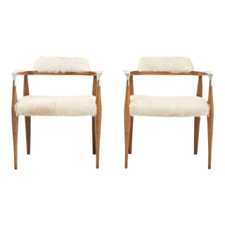 Set of Accent Chairs, Reupholstered in Brazilian Cowhide For Sale