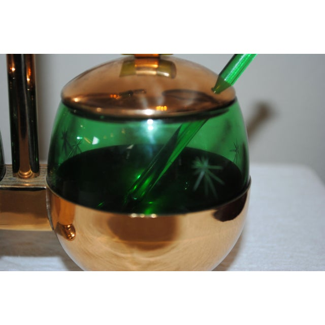1940s 1940s Art Deco Emerald Glo Green Condiment Set For Sale - Image 5 of 6