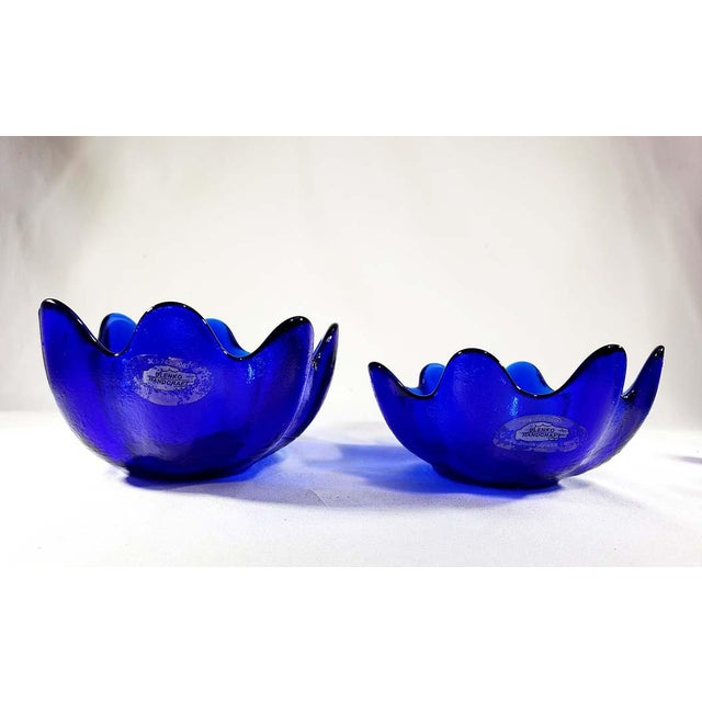 Set of 4 Blenko Handcraft Cobalt Blue Glass Molded Floriform Bowl with Label Beautiful set of 4 blenko cobalt blue bowls...