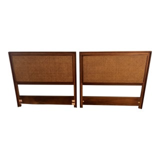 Caned Mid-Century Modern Twin Headboards- a Pair