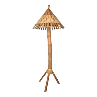 1950s Tall Woven Bamboo Tripod Floor Lamp For Sale