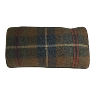 Small Custom Plaid Wool Pillow For Sale