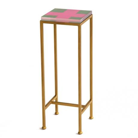 Wendy Concannon Contemporary Ellsworth Acrylic Drinks Table – Base: Gold, Top: Cross Hunter/Peony For Sale - Image 4 of 4