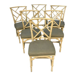 Bamboo Rattan Chinoiserie Style Dining Chairs - Set of 6