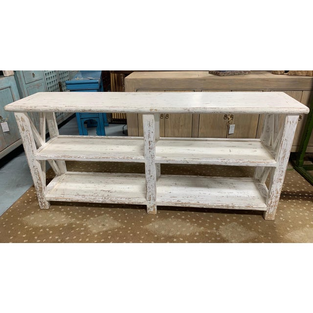 White Distresed White Shelving Unit For Sale - Image 8 of 8