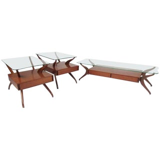 Sculptural Italian Modern Coffee Table Set After Ico Parisi For Sale