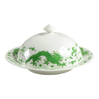 1960s Hammersley Green Dragon Round Covered Butter Dish For Sale