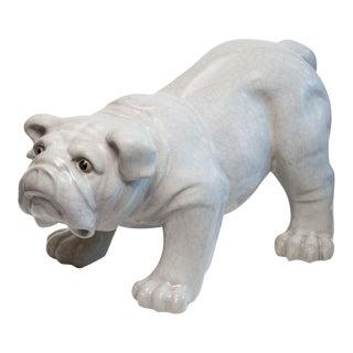 Antique Large Crackle Glaze English Bulldog Sculpture, Signed For Sale