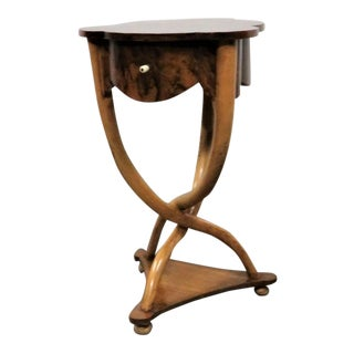 Burl French Horn Style Side Table For Sale