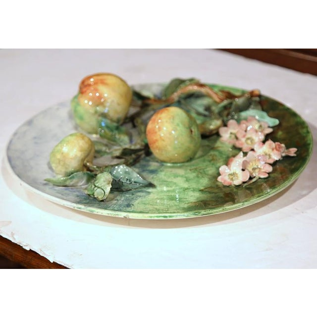 Green Late 19th Century French Barbotine Wall Platter For Sale - Image 8 of 10
