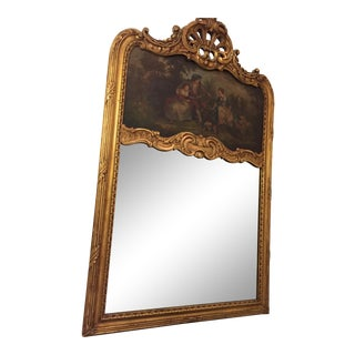 Antique Loius XV Gilt Framed Trumeau Mirror For Sale